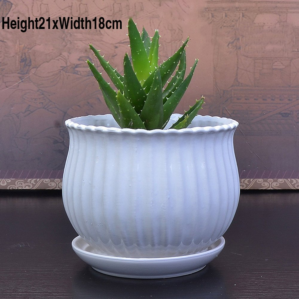 7 Inches Set of 2 White Geometric Design Ceramic Flower Planter Pots / Decorative Plant Container with Saucer