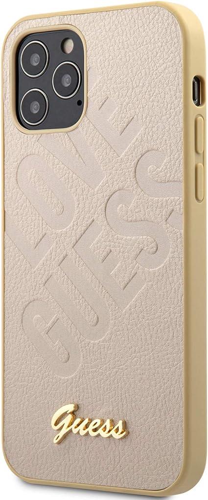 dorado Guess GUHCP12MPUILGLG Iridescent Love Script Gold Logo Carcasa para iPhone 12//12 Pro 6,1 pulgadas
