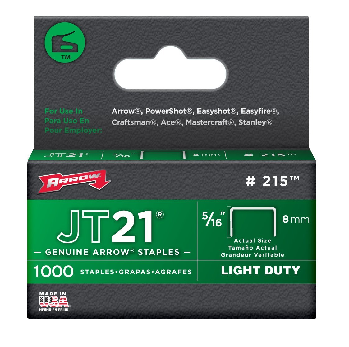 Arrow Fastener 215 Staple, 1000 Count (Pack of 5)