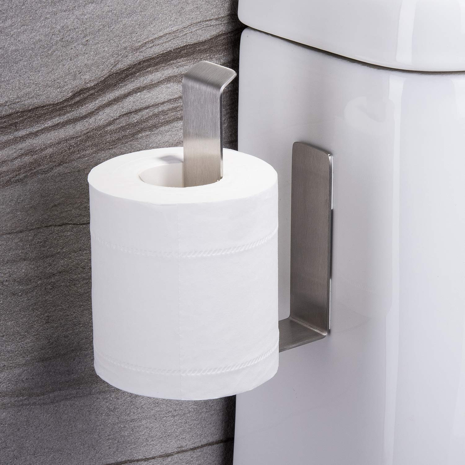 Taozun Adhesive Toilet Paper Holder - Self Adhesive Toilet Paper Rack Toilet Paper Roll Holder Stick on Wall, No Drilling Stainless Steel by Taozun