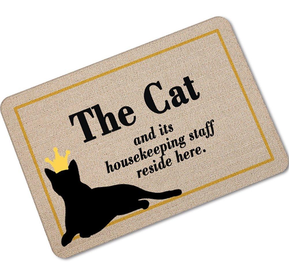 OHYESS 24*36 Fashion Lovely Cat Welcome Non-Slip Household Bathroom Bedroom Rubber Carpet Entrance Decor Floor Mat Doormat (24*36)