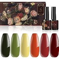 NEEKO Gel Nagellak Set, Bloem Collectie Gel Nagellak Kit, 6 Kleuren Rood Geel Groen Oranje UV/LED Soak Nail Gel voor…
