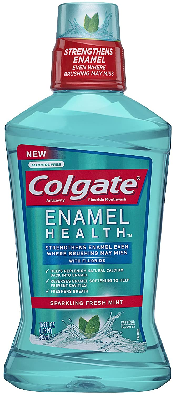 Colgate Enamel Health Anticavity Fluoride Mouthwash, Sparkling Fresh Mint, 16.9 fl oz