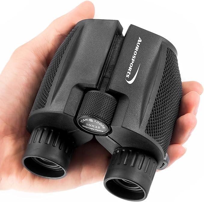 Best compact binoculars :  Aurosports 10x25 Folding High Powered Binoculars