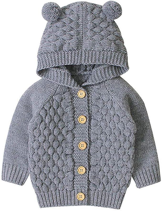 Newborn Baby Girl Boy Winter Warm Jacket Coat Knit Outwear Hooded Sweater Tops