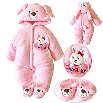 bfcdd66f82e Image Unavailable. Image not available for. Color  SOPO Bear Baby Girls  Winter Romper Newborn ...