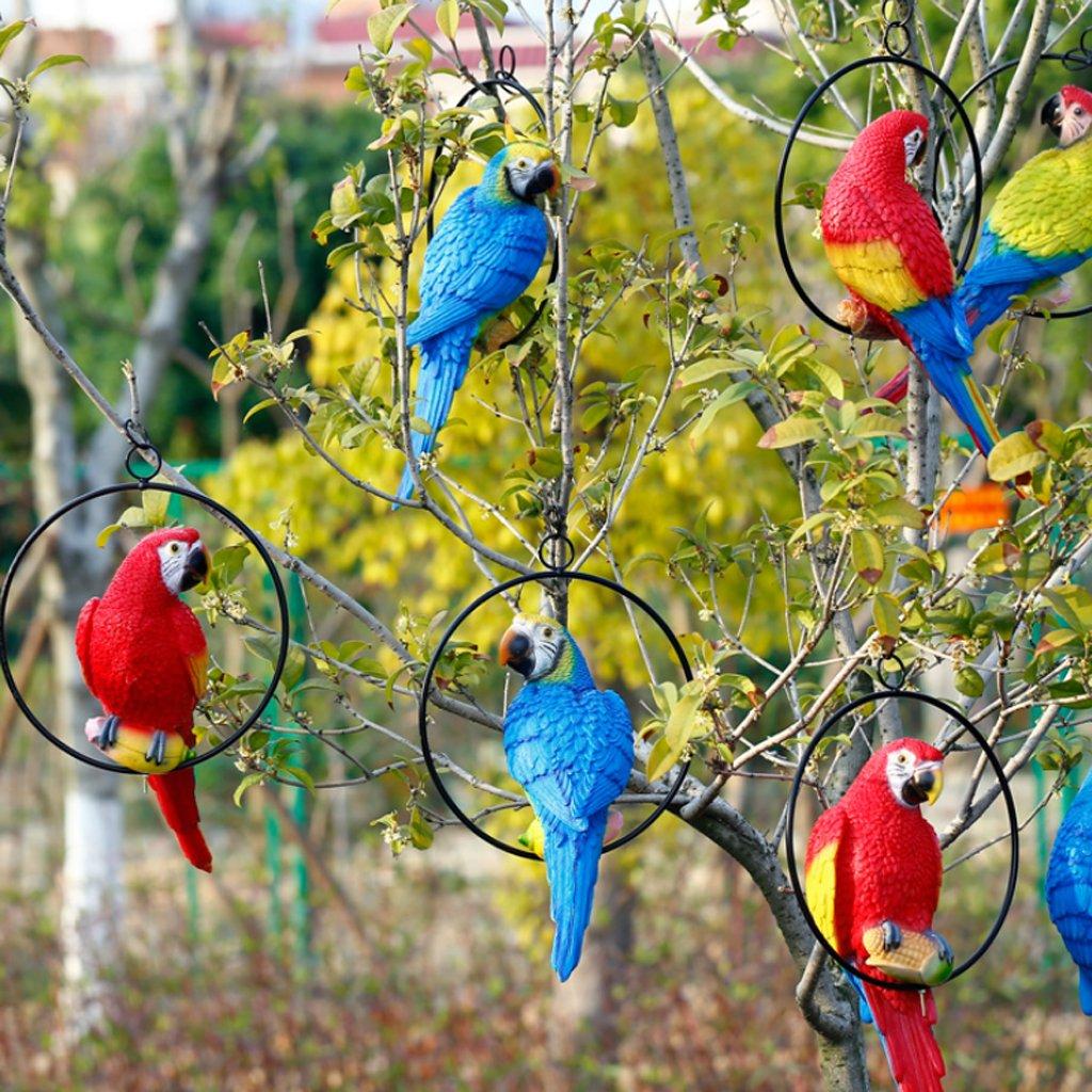 Amazon.com : MagiDeal Simulation Parrot Bird Sculpture Wall Hanging ...