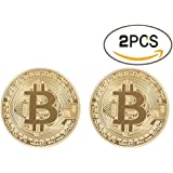 Bitcoin Coin Deluxe Collector's Set | Featuring the Limited Edition Original Commemorative Tokens by Zcccom | Each Coin Comes w/ a Plastic Round Display Case (Double Gold)