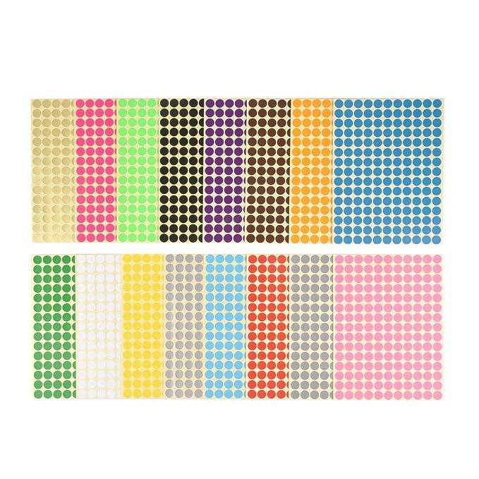 Stickerpunkte Durchmesser 1cm 2640 Aufkleber Runde Klebepunkte in 16 Fraben