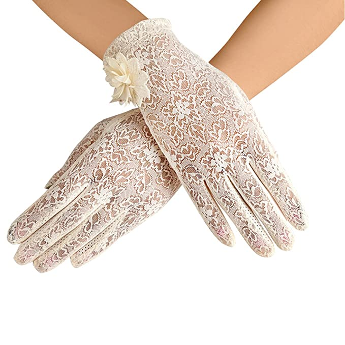 Edwardian Gloves, Handbag, Hair Combs, Wigs Bridal Gloves Lace Wedding Party Evening Short Gloves $8.99 AT vintagedancer.com