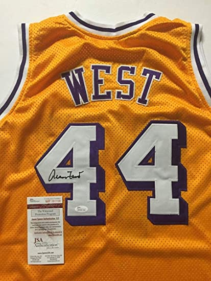 aec5c2f8bc3 Autographed Signed Jerry West Los Angeles LA Yellow Basketball Jersey JSA  COA