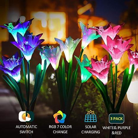 Luz solar Exterior Jardin PUZ Toy Luces Led Solares Para Exteriores hadas Guirnaldas Luces Exterior Pack 3 Con 7 Flores Lirio Multi Color Cambiante Adornos Para Patio Césped Decoración: Amazon.es: Iluminación