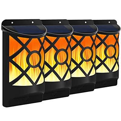 Solar Flame Lights Outdoor, Fitybow Waterproof Flickering Flame Solar Lights Dark Sensor Auto On/Off 66 LED Solar Powered Wall Mounted Night Lights Lattice Design for Patio Deck Driveway (4Packs) : Garden & Outdoor