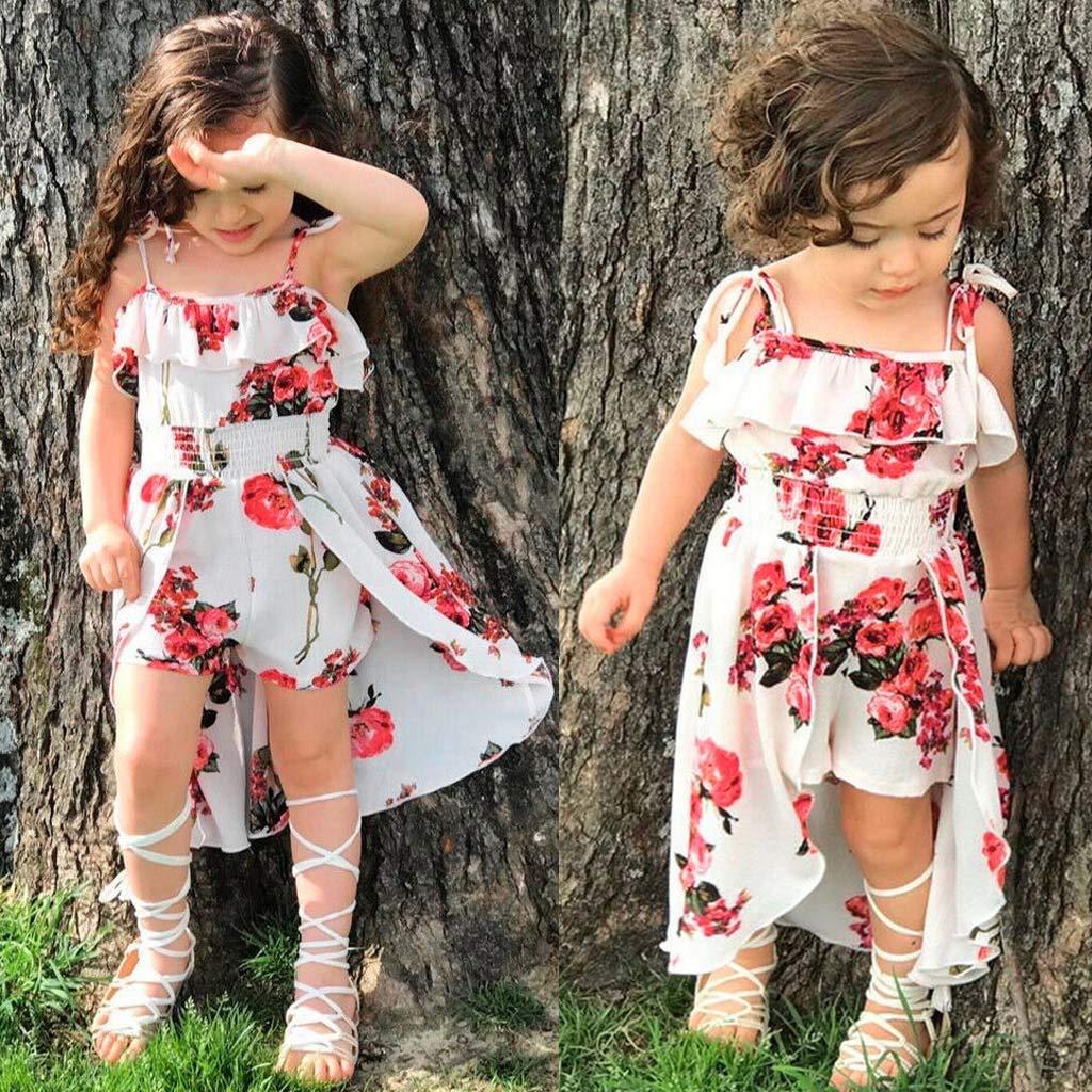 MISSWongg/_Babykleidung Baby Kinder M/ädchen Kleid Schulterfrei Blumendruck R/üschen Hosenrock Kleid M/ädchen Outfits Sets