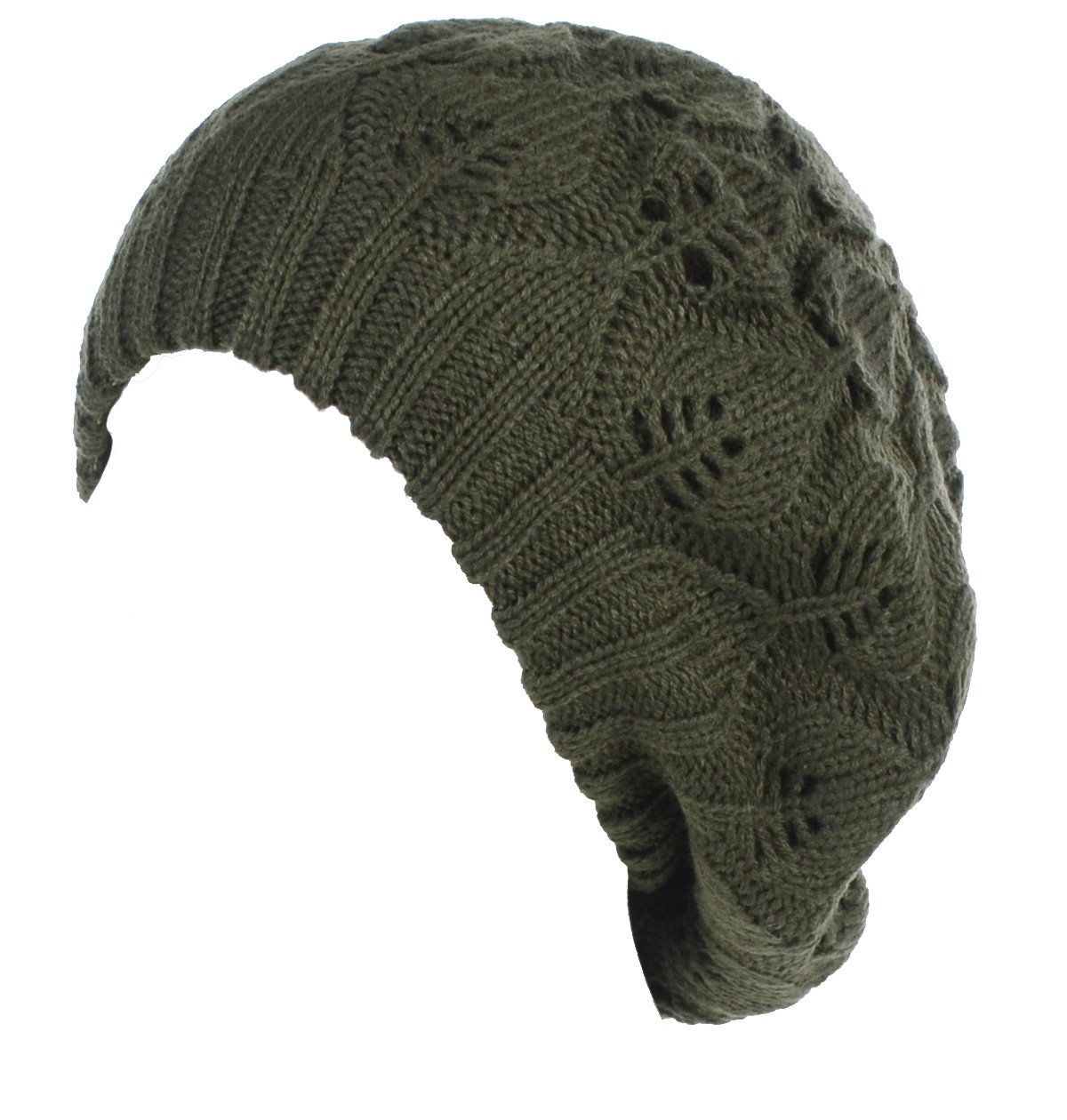 BYOS Winter Chic Warm Double Layer Leafy Cutout Crochet Knit Slouchy Beret Beanie Hat (Olive Green Leafy)
