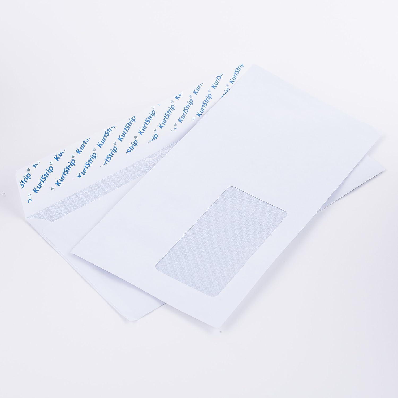 Lot de 1000 enveloppes dL 110 x 220 mm-blanc - 70 g/m² avec fenêtre (article : 125638E) Kurt Envelopes