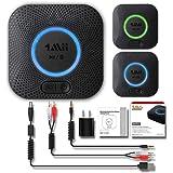 1Mii Bluetooth 5.0 オーディオ レシーバー 2台同時接続可能 Hi-Fi 3Dステレオ サウンド 高音質 低遅延 超長受信距離(屋外:50m 屋内:20〜30 m) 自動再接続 充電 不要 RCA、AUX、APT-X/AAC対応 TELEC認定 PSE認証に合致する電源アダプタ供給された 2年の品質保証 B06+ (黒い)