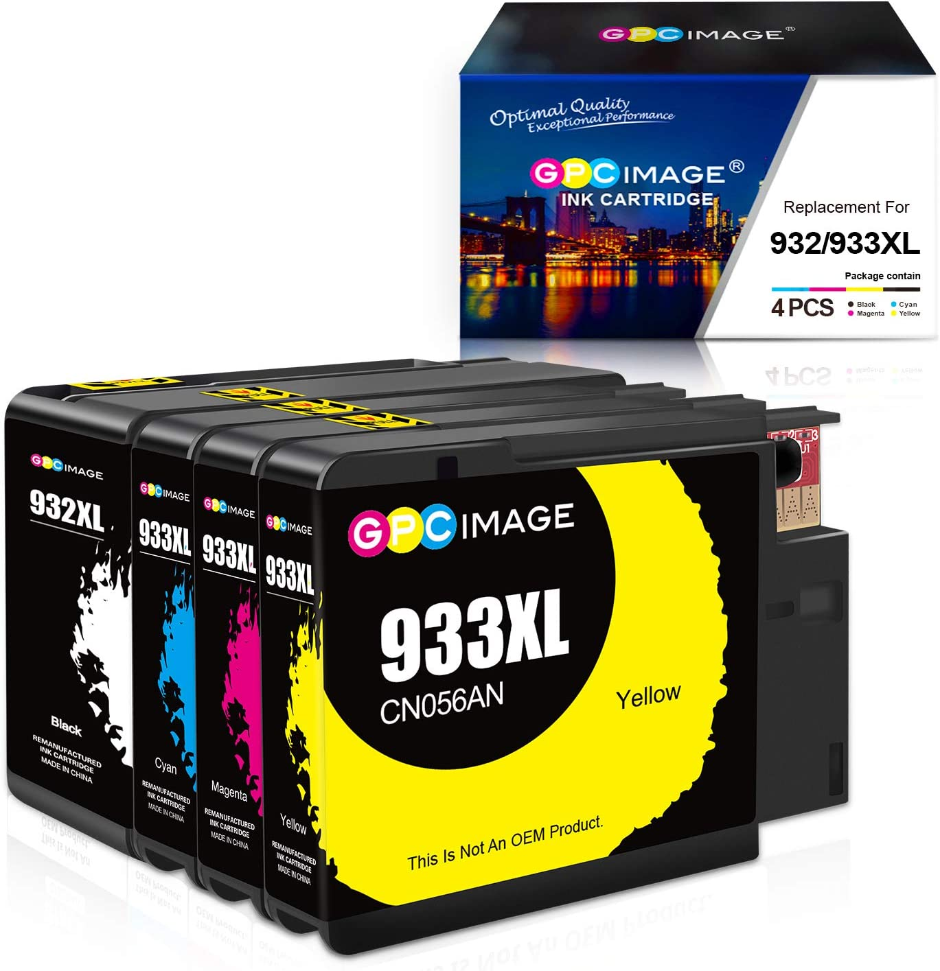 GPC Image Remanufactured Ink Cartridge Replacement for HP 932XL 933XL 932 933 to use with Officejet 7110 6600 6700 6100 7612 7610 Printer (Black,Cyan,Magenta,Yellow)