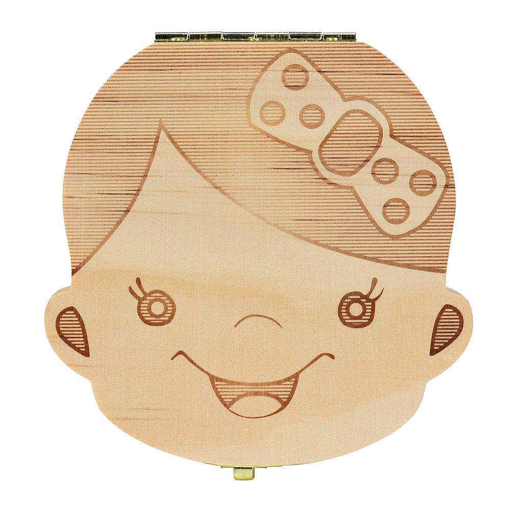 Ularma Caja de almacenaje de madera guardar los dientes de leche para niños chica (Español)