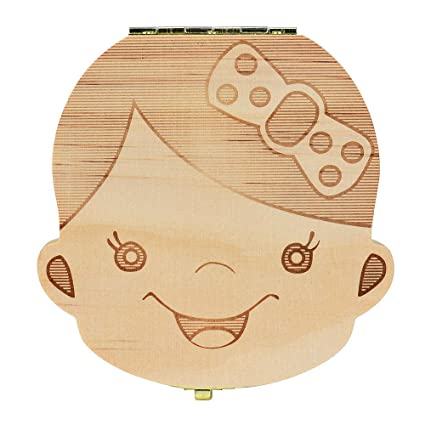 Ularma Caja de almacenaje de madera guardar los dientes de leche para niños chica (Español