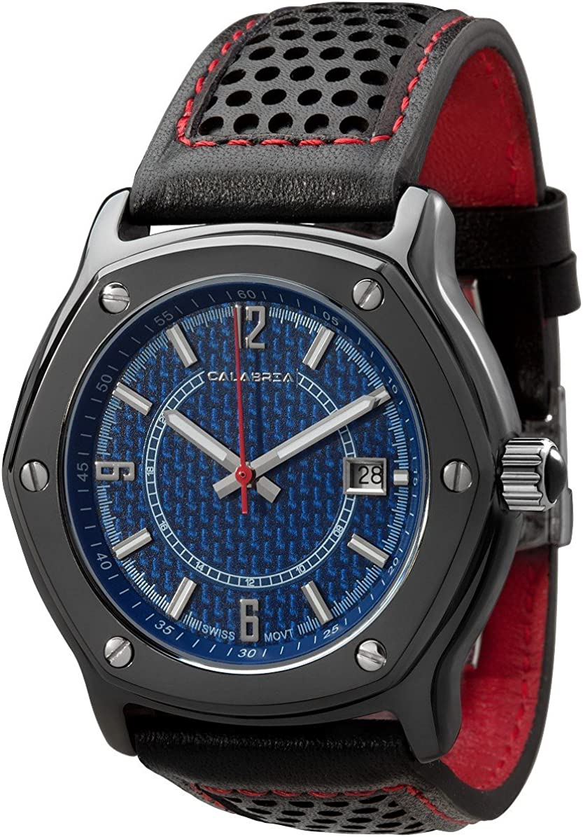 CALABRIA – Furtiva CarboTech Limited – Blue Carbon Fiber Dial, Men s Watch, Leather Band