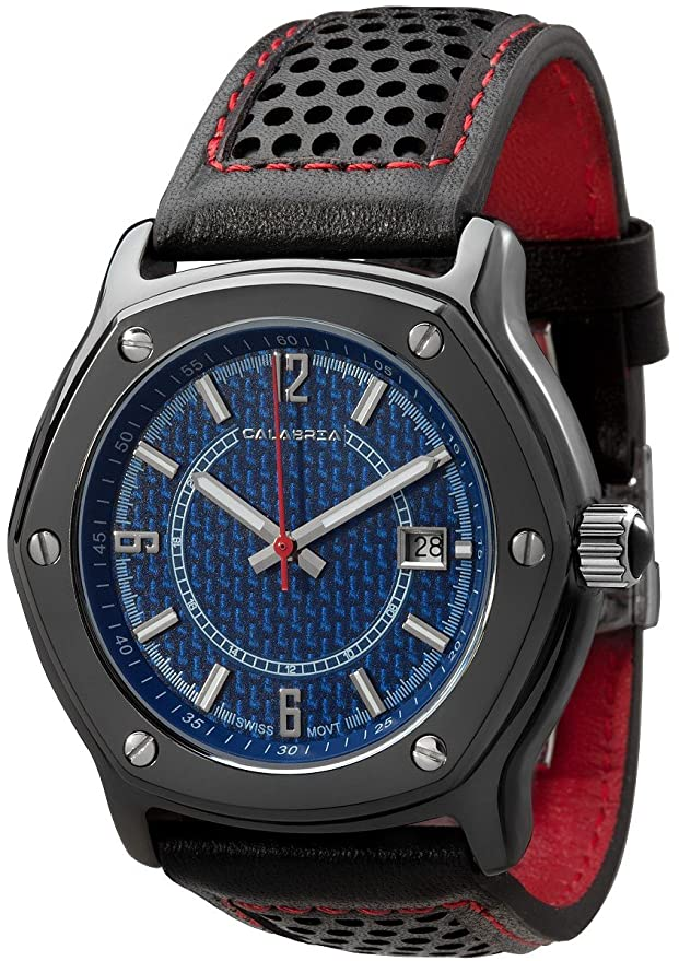 Amazon.com: CALABRIA - Furtiva CarboTech LIMITED - Blue Carbon Fiber Dial, Mens watch, Leather Band: Watches