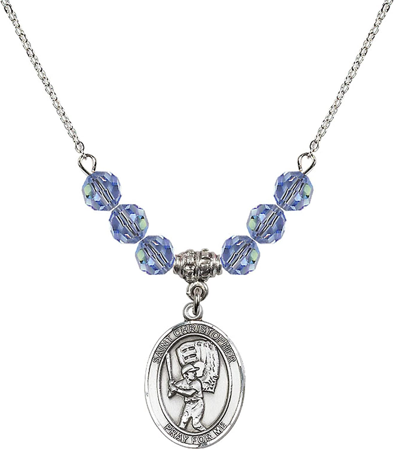 Bonyak Jewelry 18 Inch Rhodium Plated Necklace w// 6mm Light Blue September Birth Month Stone Beads and Saint Christopher//Baseball Charm