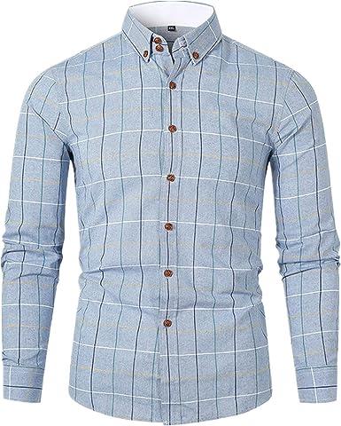 Liquidación Camisa a Cuadros Clásica Hombre Camisas de Vestir de Negocios de Manga Larga Corte Slim Solapa Cómodo Blusa Yvelands: Amazon.es: Ropa y accesorios