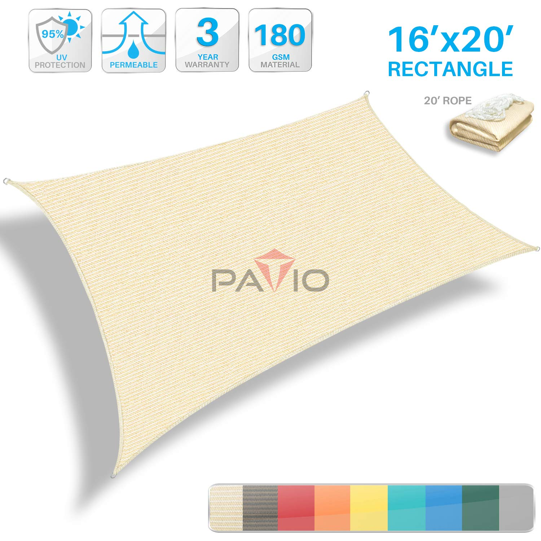 Patio Paradise 16' x 20' Tan Beige Sun Shade Sail Rectangle Canopy - Permeable UV Block Fabric Durable Patio Outdoor  - Customized Available by Patio