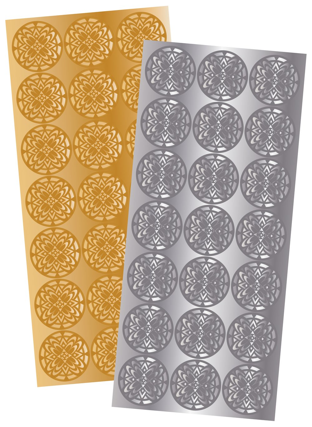 Quality Park Decorative Foil Envelope Seals, Pack of 21 Gold and Silver Seals (46910)