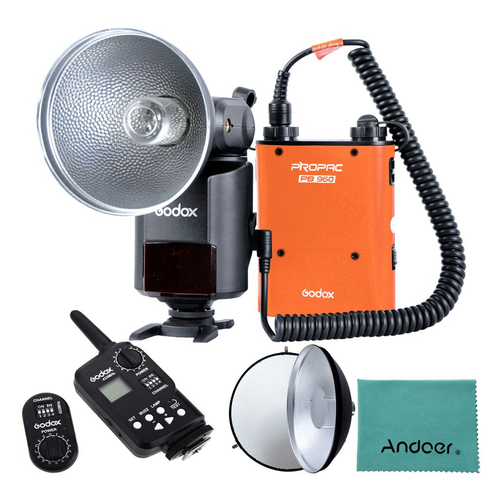 Godox Witstro AD-360 360W GN80 External Portable Flash Light Speedlite with PB960 Lithium Battery Pack Kit FT-16 Trigger Godox AD-S3 Beauty Dish Honeycomb Cover for Canon Nikon Camera