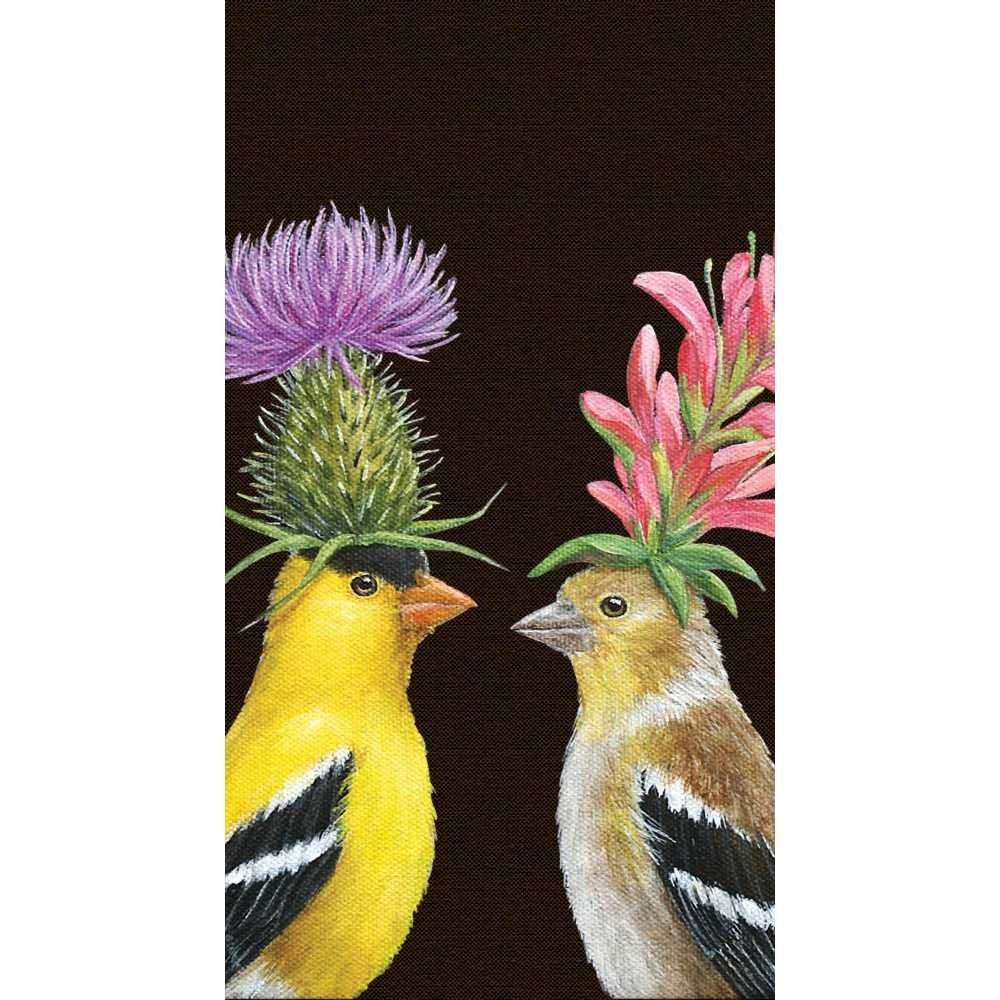Paperproducts Design Featuring The Art of Vicki Sawyer Goldfinch Couple Paper Guest Towels, Multicolor