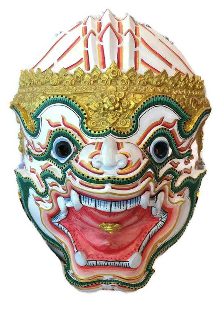 Thai Hanuman Khon Mask For Hanging The Wall Or Decoration (Fiberglass, height 9.5 x width 7.5 x depth 6 inch) by Nammontip