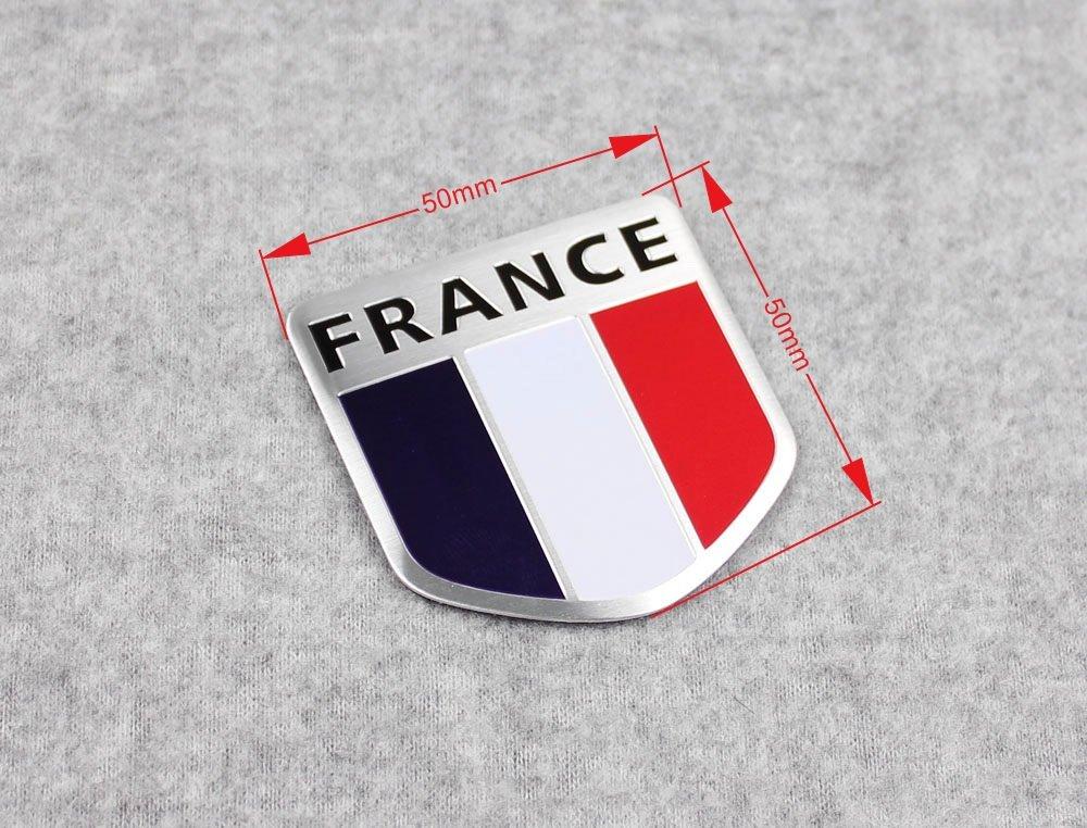 Generic Car Aluminum 3D France Flag Shield Side Rear Emblem Badge Decals Sticker Kate Wenzhou automobile supplies factory
