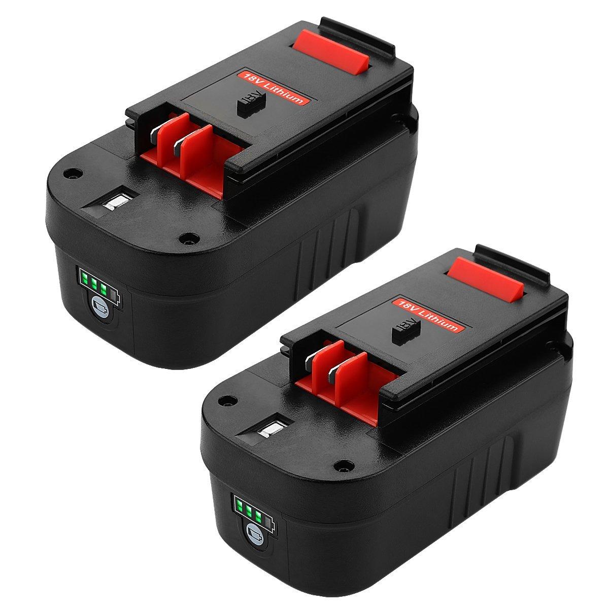 ANTRobut Replacement for 5000mAh Lith-ion 18Volt Replacement Battery for black&decker 18v battery HPB18 HPB18-OPE 244760-00 A1718 FS18FL FSB18 Firestorm black & decker 18 volt batteries (2 Pack)