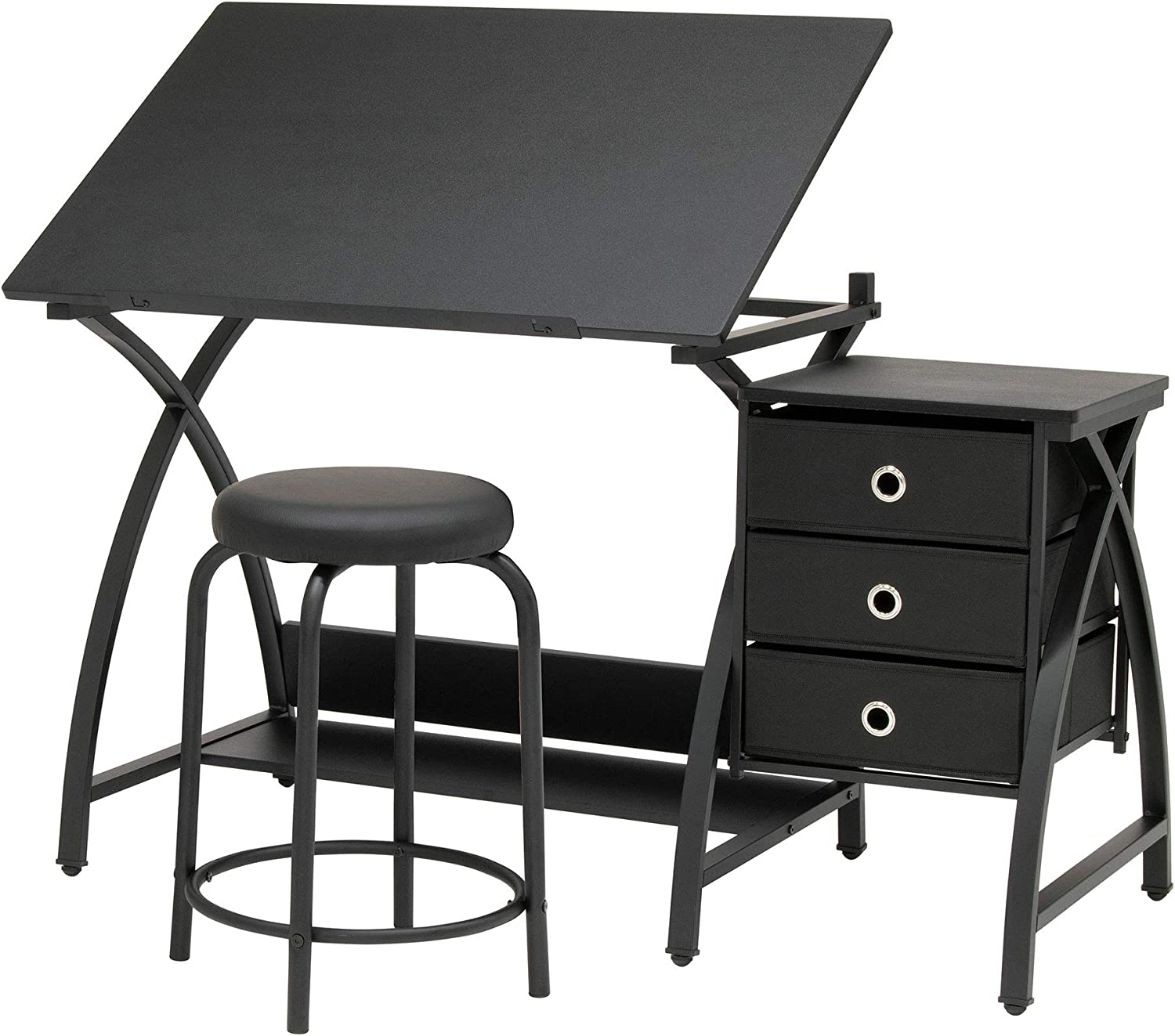 SD STUDIO DESIGNS Venus Craft Station w/Stool, Black