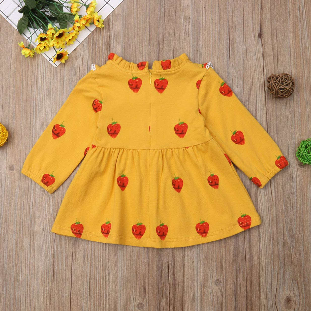 FEORJGP Toddler Baby Girl Long Sleeve Ruffle Strawberry Dress Casual Clothes