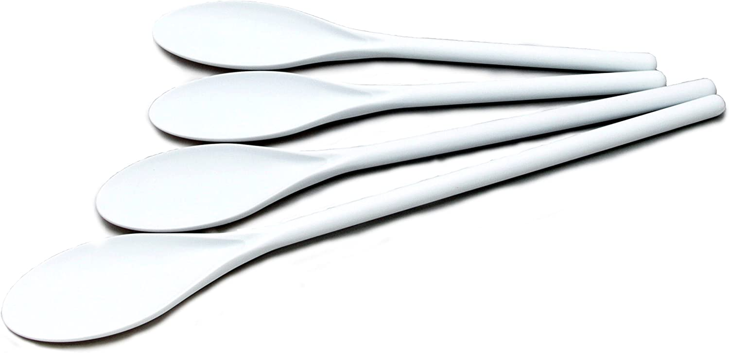 Chef Craft 20769 4-Piece Poly Set Spoon, Multisize, White
