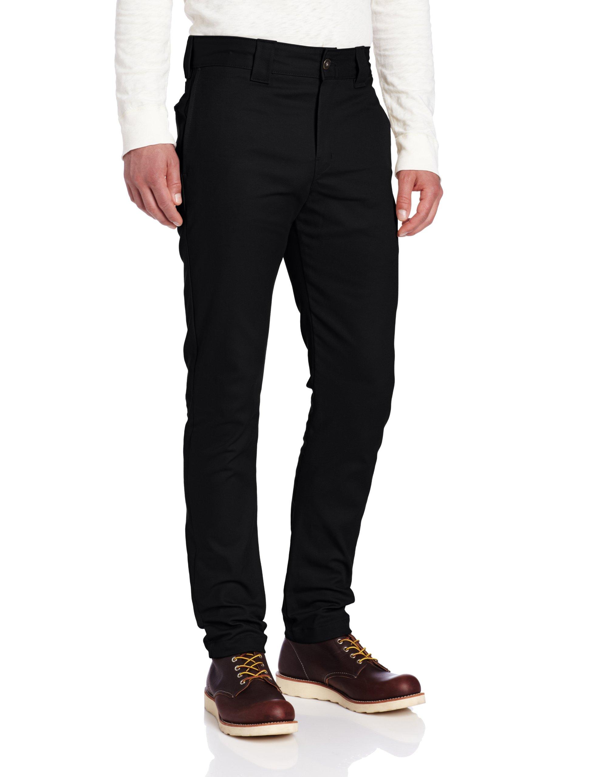 Dickies Men's Slim Skinny Fit Work Pant, Black, 32x34