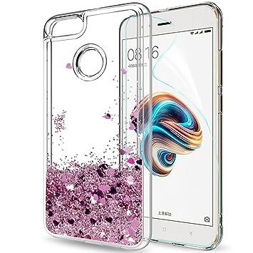 LeYi Funda Xiaomi Mi A1 / Mi 5X Silicona Purpurina Carcasa con HD Protectores de Pantalla, Transparente Cristal Bumper Telefono Gel TPU Fundas Case ...