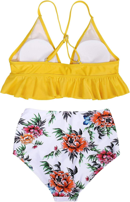 AmzBarley Women Two Piece Swimsuit High Waisted Bikini Set Retro Flounce High Waisted Bikini Swimsuit