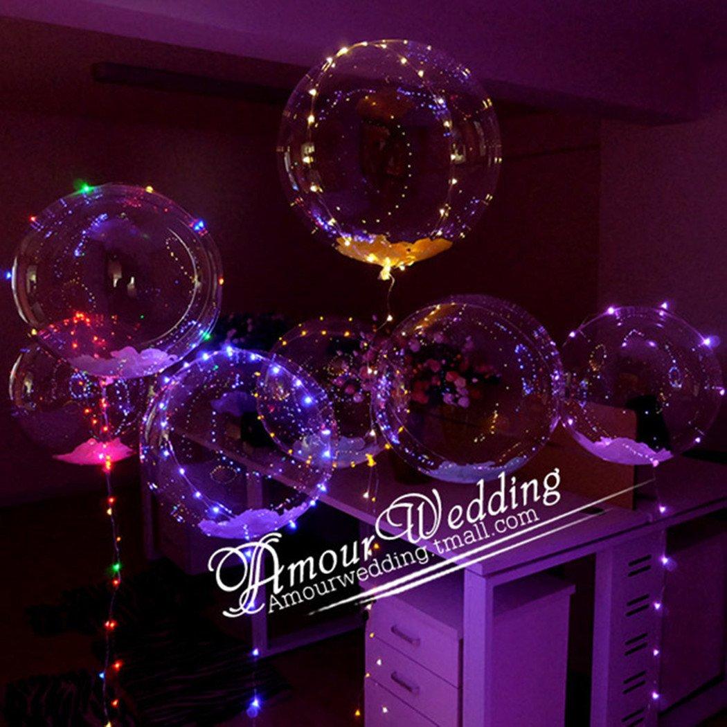 20inch Luminous Led Balloon Transparent Round Bubble Decoration Party Wedding (50)