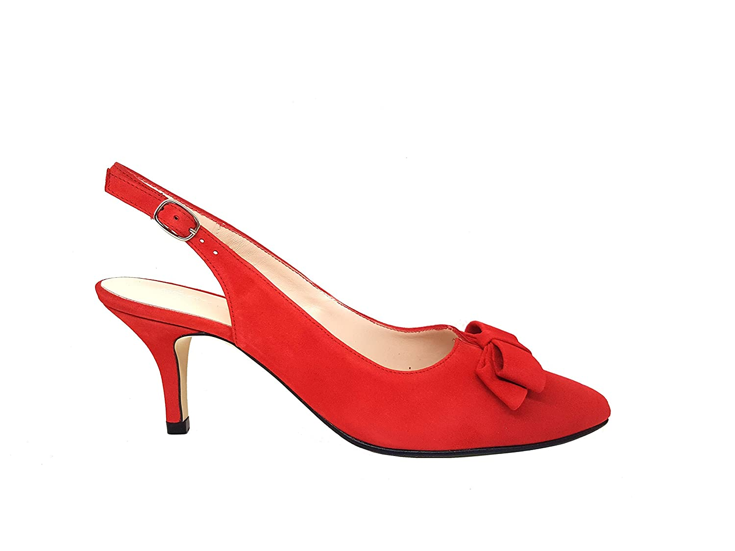GENNIA ISARALING Women Slingback Closed Toe Leather Pumps with Bow and Kitten Heel 6 cm