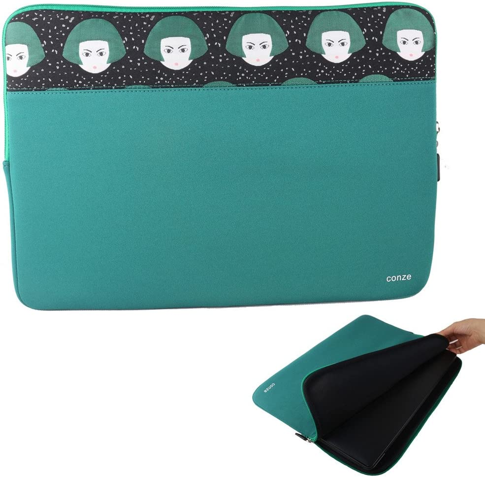 Conze 13inch Tablet Sleeve Water-Resistant Protective Case Pouch Cover/Briefcase Carrying Bag Compatible with Dell Latitude 14 E7450 / 5480/7480 in Peacock Green