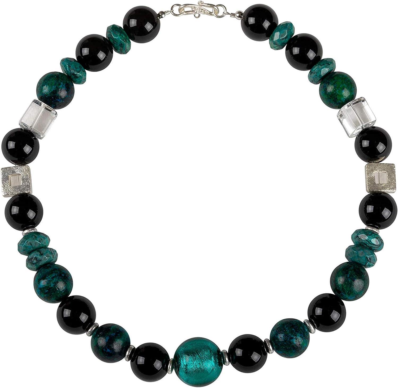 Onyx - Collar de cristal de roca ágata de cristal de Murano, collar de plata con piedras preciosas hechas a mano