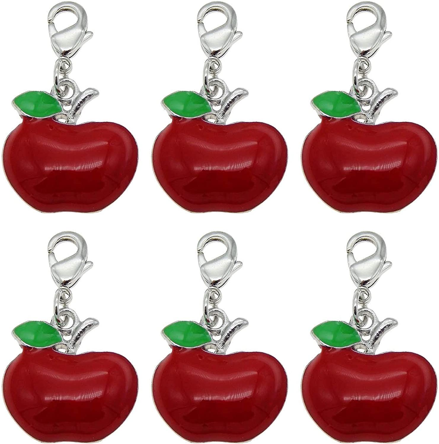 28pcs Silver Enamel Red Apple Keychain Charm Pet Collar Charm Purse Charm with Lobster Clasp