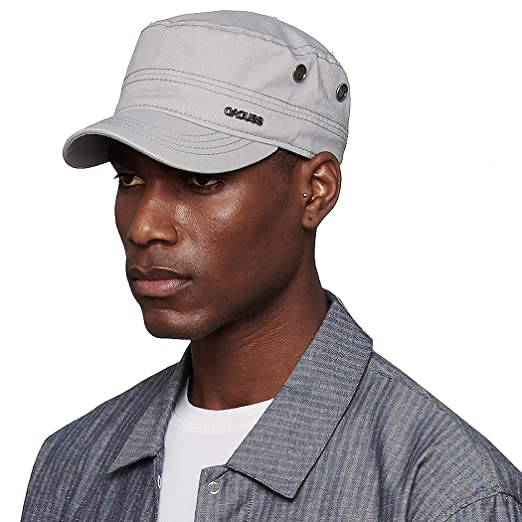45540dd2f CACUSS Men's Cotton Army Cap Cadet Hat Military Flat Top Adjustable  Baseball Cap