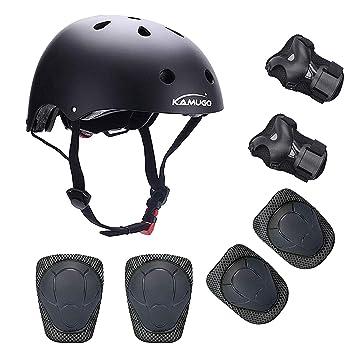 KAMUGO Equipo de protección Ajustable para Deportes para niños Ajustable, Casco, Rodilleras, Coderas y Guantes para Bicicleta BMX, Motocicleta, ...