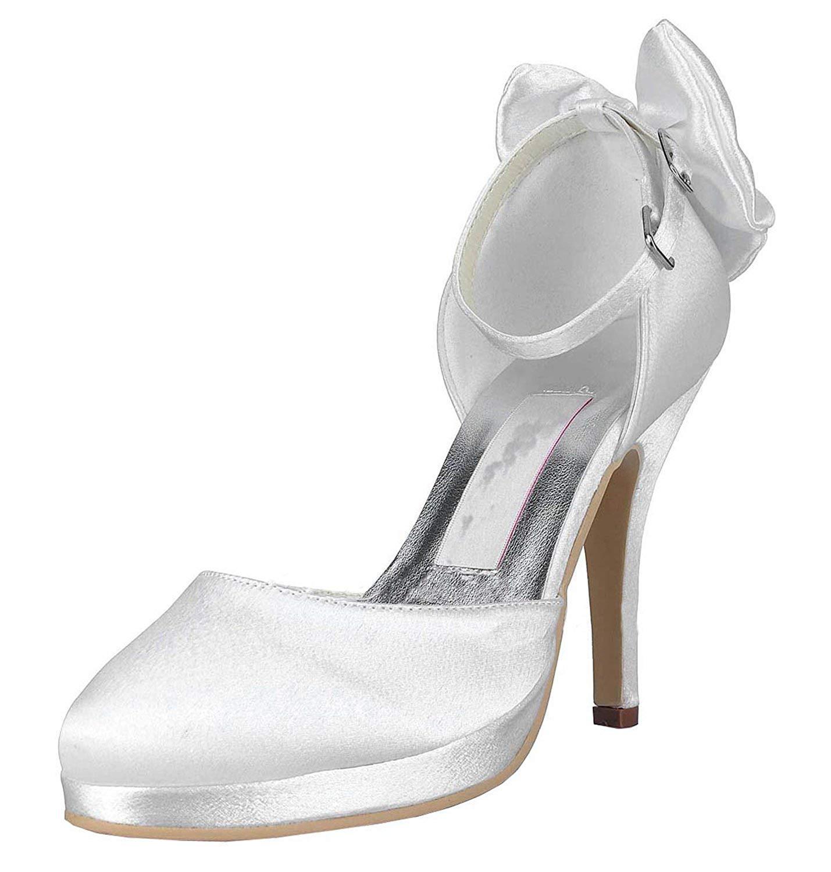Qiusa Frauen MZ546 Round Toe Ankle Strap Elfenbein Satin Hochzeit Abend Prom Pumps Schuhe UK 4 (Farbe   -, Größe   -)