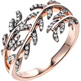 Gnzoe Jewlery Gift - Women 18K Rose Gold Anniversary Promise Ring, Branches Leaves Diamond Rings for Womens